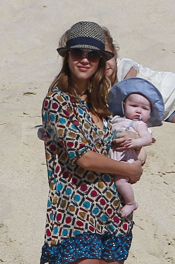 Jessica Alba and Haven Warren wore hats in Cabo.