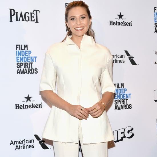 Elizabeth Olsen Wearing a White Suit