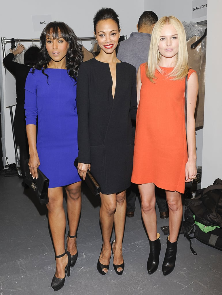 Kerry Washington, Zoe Saldana, and Kate Bosworth looked cool in colorful dresses while backstage at the Calvin Klein Collection show in February 2011.