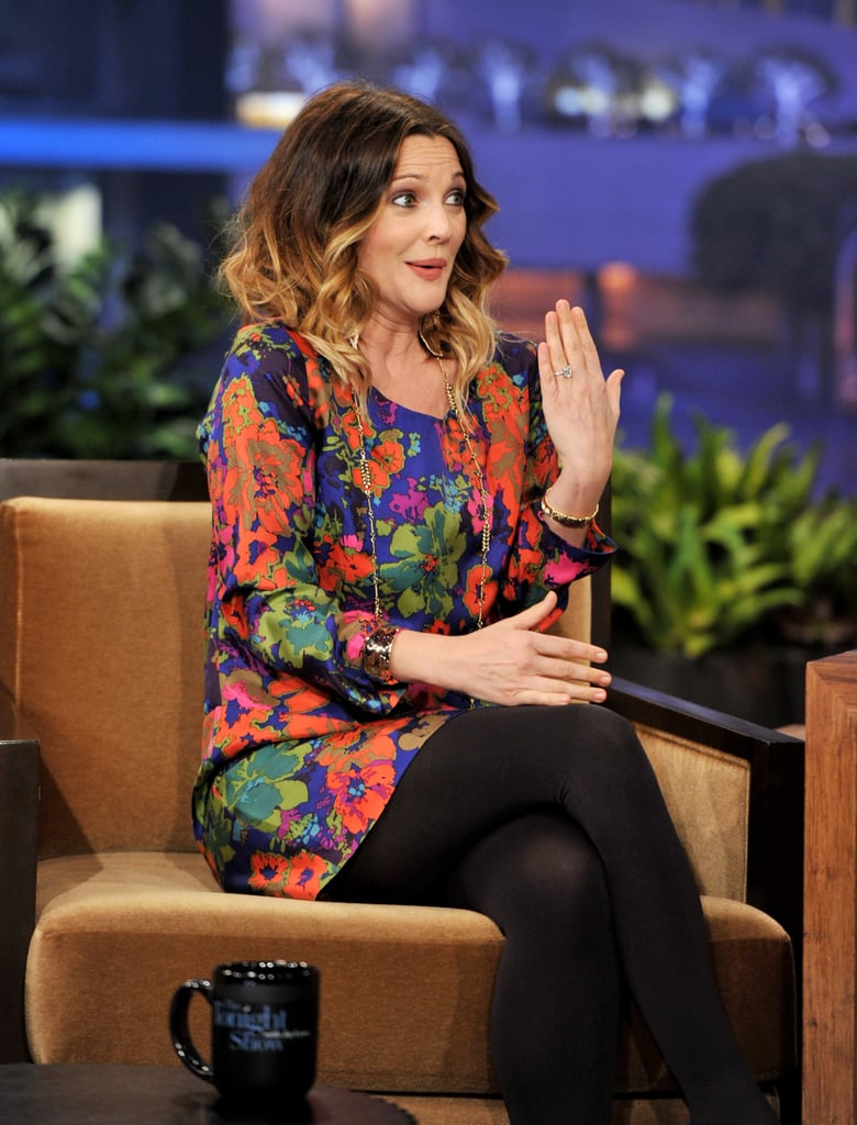 Drew Barrymore proudly showed her engagement ring!