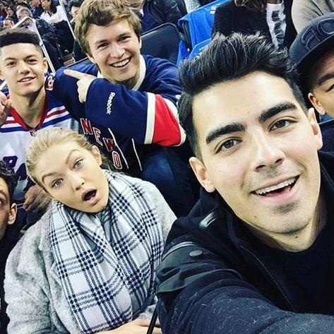 Ansel Elgort Selfie With Joe Jonas and Gigi Hadid