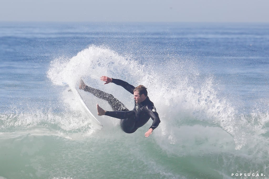 Chris Hemsworth showed off his surfing moves at a beach in LA on Saturday.