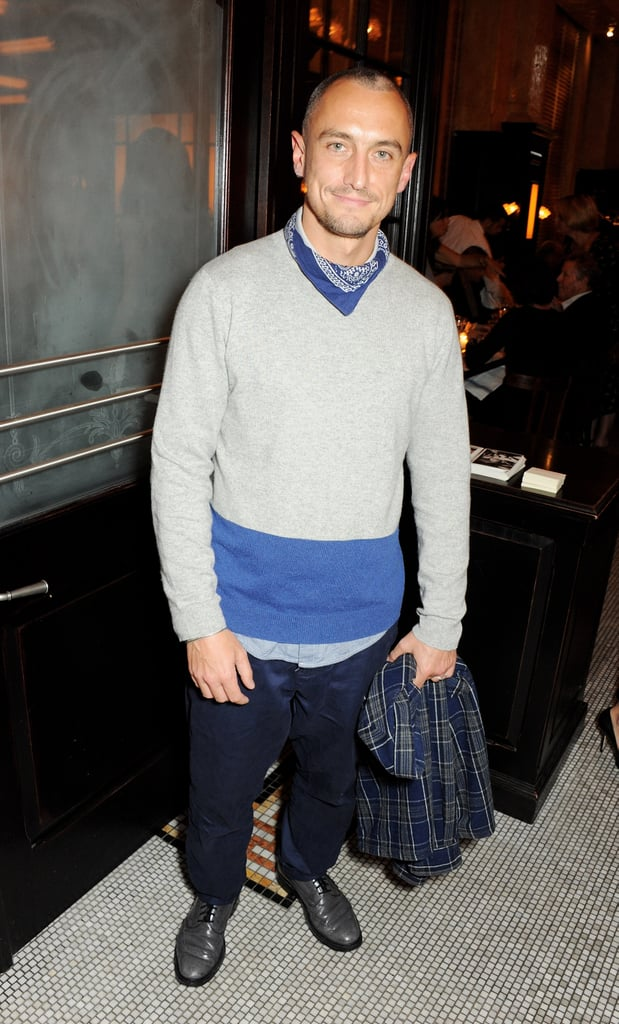 Richard Nicoll helped host dinner with Vogue in a sporty sweater.