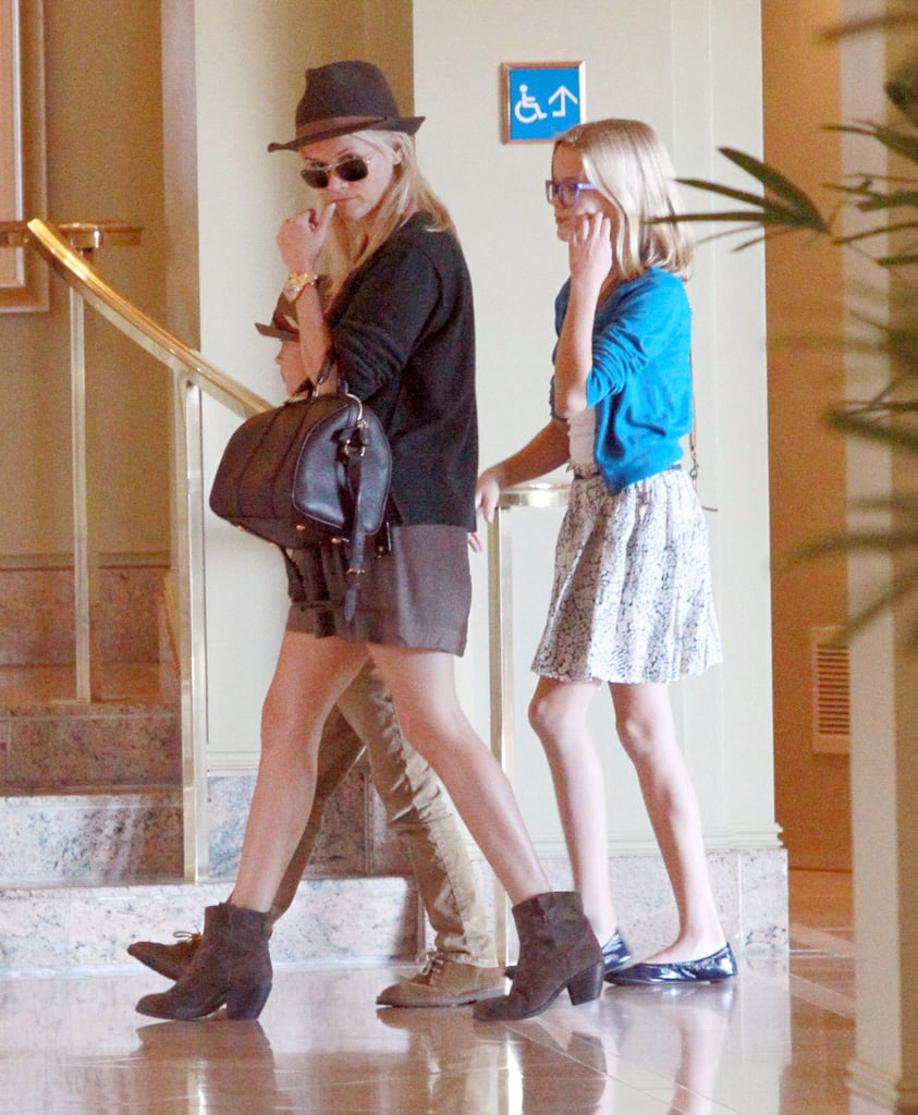 Reese Witherspoon, Deacon Phillippe, and Ava Phillippe arrived at church.