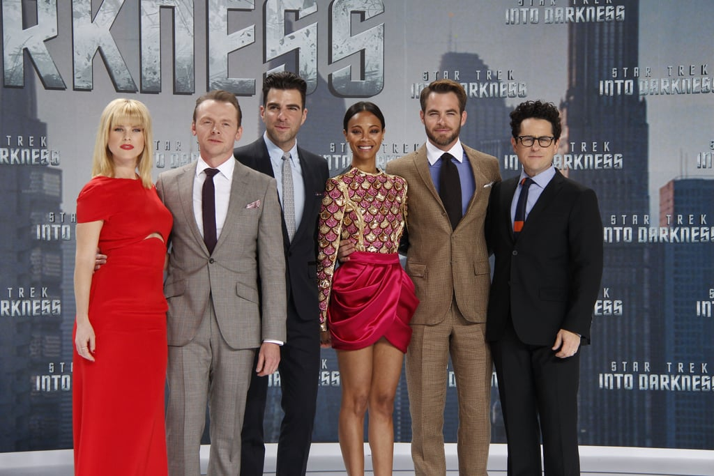 Alice Eve, Simon Pegg, Zachary Quinto, Zoe Saldana, Chris Pine, and director J.J. Abrams attended the German premiere of Star Trek Into the Darkness.