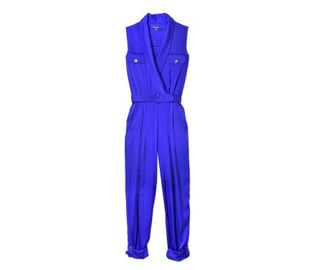 """""""This bright cobalt jumpsuit is a team favorite from the RZ collection—just throw it on and go!"""" Rachel Zoe Shawl Collar Jumpsuit ($495)"""