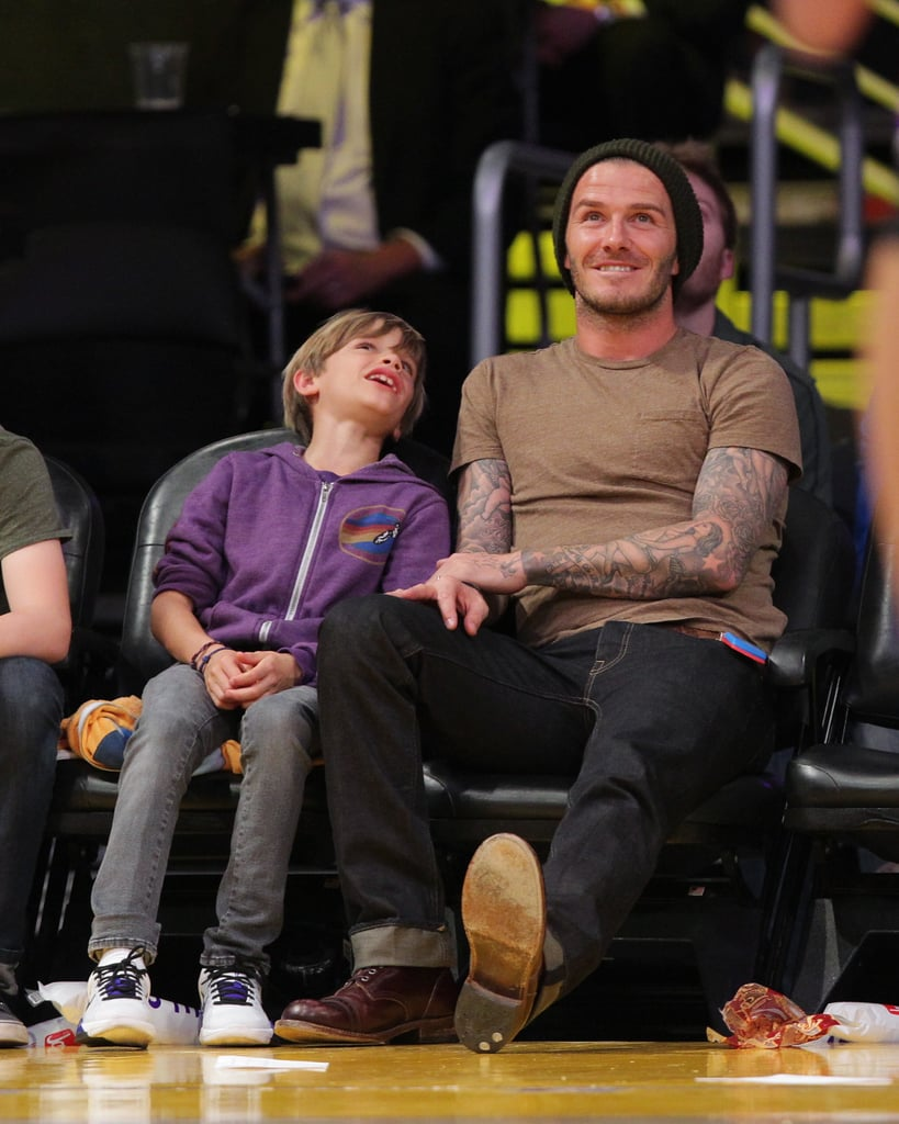 David Beckham and his son Romeo chatted.