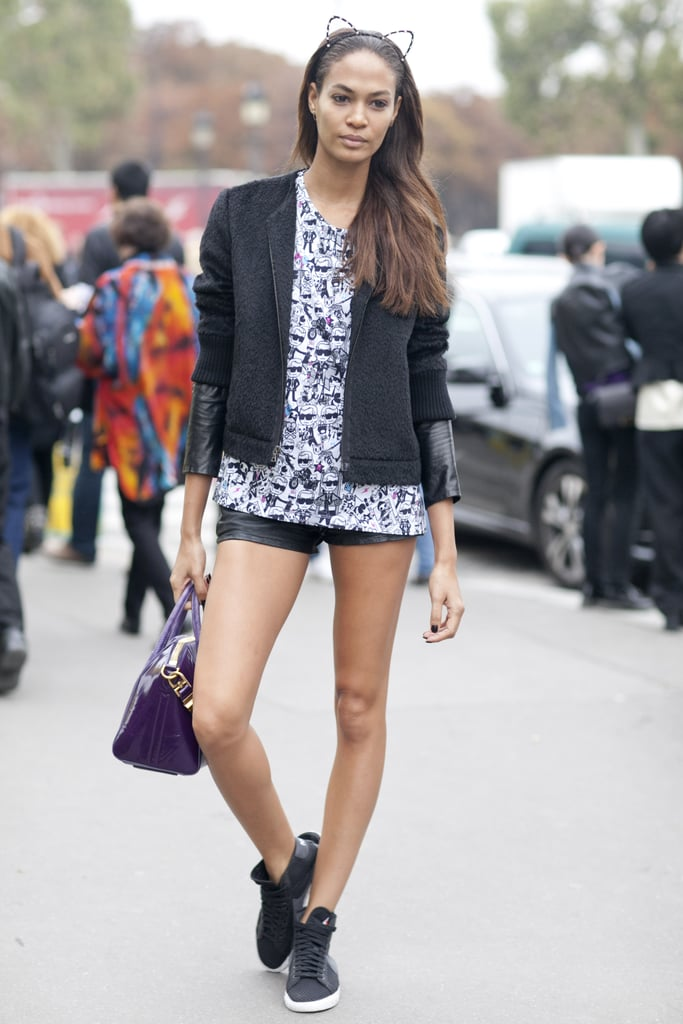 Joan Smalls topped her street-cool ensemble with cat ears.