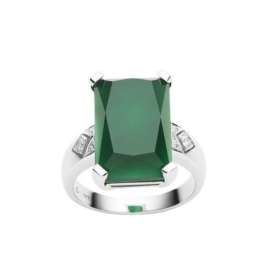 18 carat green onyx and diamond ring, $1950, Jan Logan