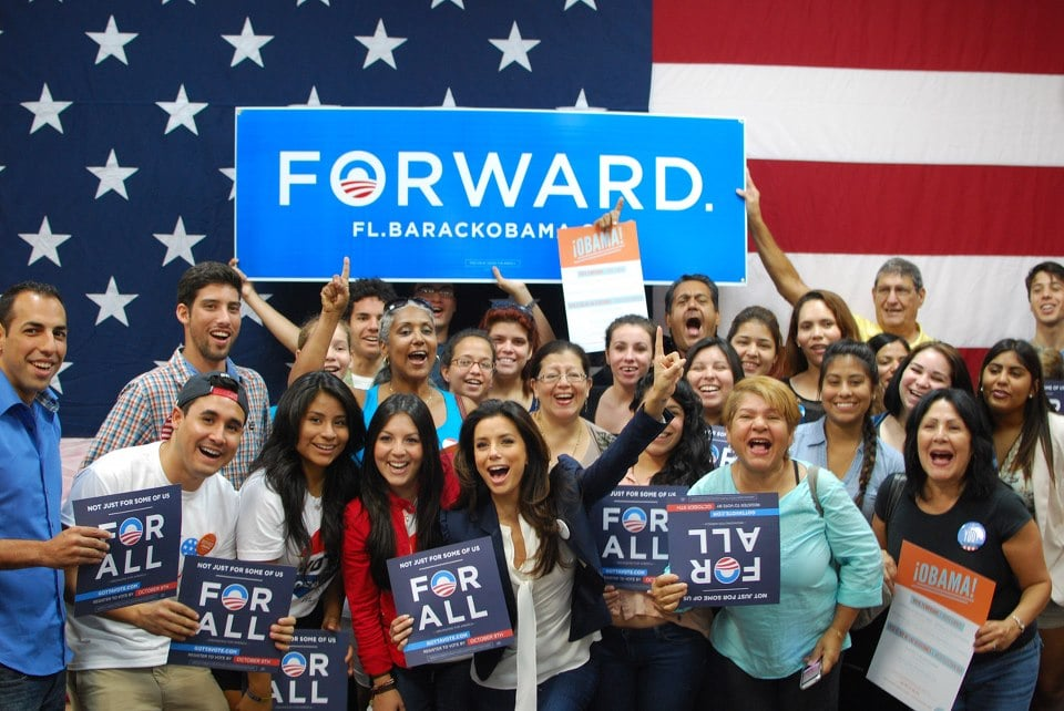Eva Longoria and a group of voters were excited to start early voting in Florida.  Source: Facebook user Obama For America
