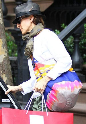 Sarah Jessica Parker With Halston Heritage Tie Dye Bag in NYC