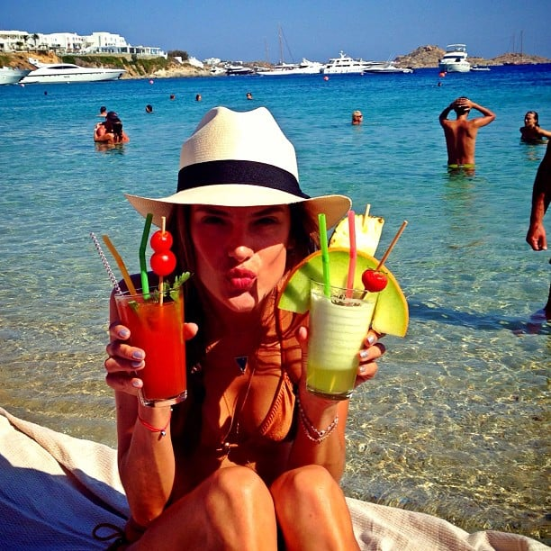 Alessandra Ambrosio was a little thirsty while vacationing in Mykonos, Greece. Source: Instagram user alessandraambrosio