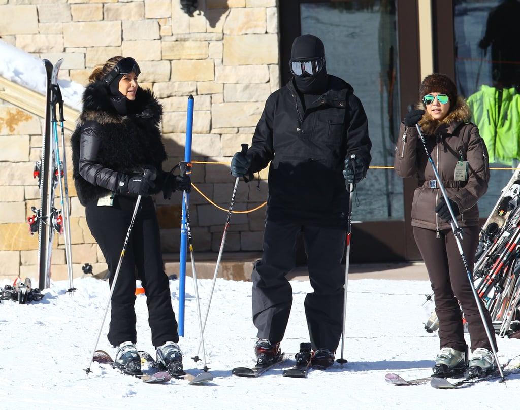 Kim and Kourtney Kardashian hit the slopes in Park City, UT, with Kanye West on Monday.