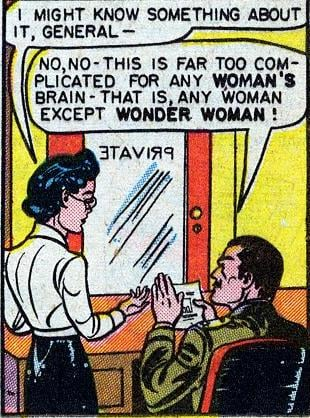 Luckily, Wonder Woman is smarter than most women. Source: DC Comics