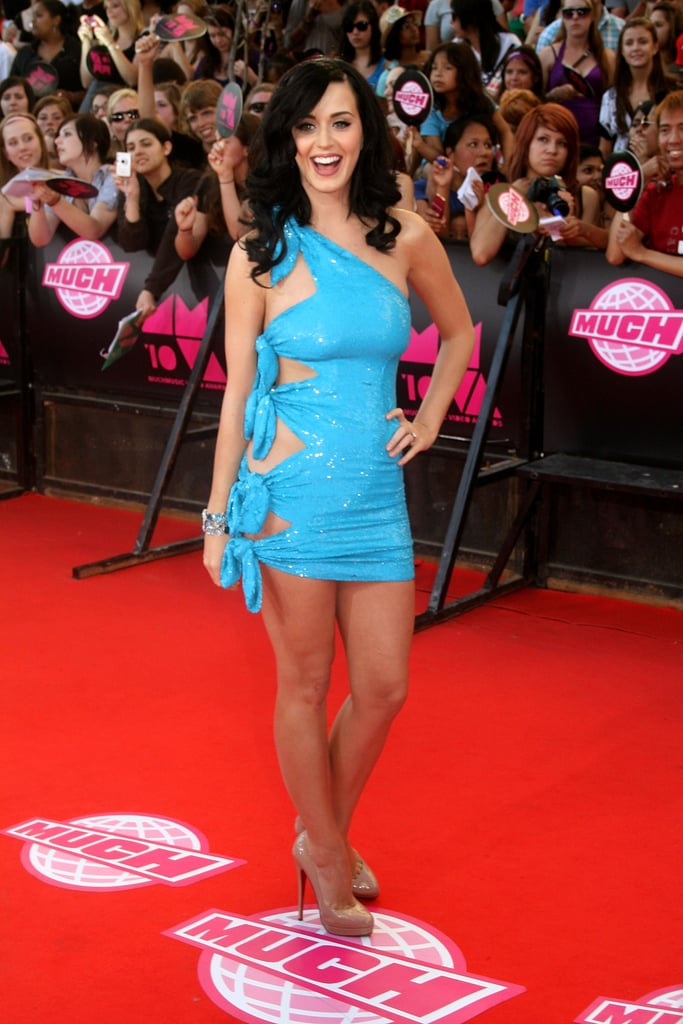 Katy graced the red carpet in a revealing blue minidress at the MuchMusic Awards in Toronto in June 2010.