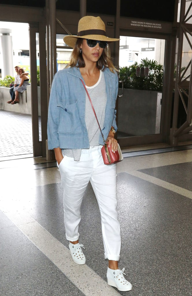 A relaxed and somewhat unexpected way to top off white denim? With a chambray jacket, of course!