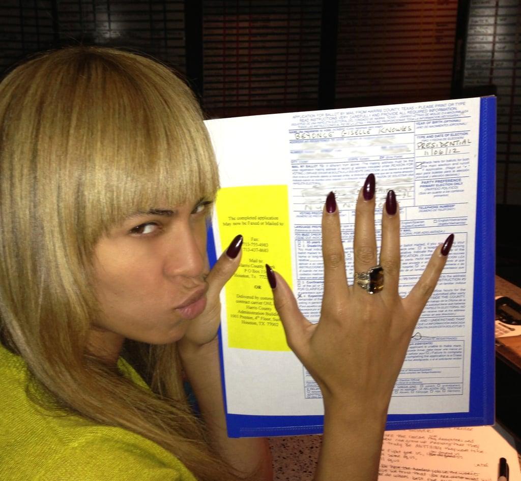 Beyoncé Knowles showed off her new bangs alongside her ballot. Source: Tumblr user IAmBeyoncé