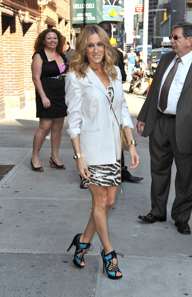 Parker rocked her go-to combo, an oversize Stella McCartney blazer and glitzy zebra dress by Blumarine, with turquoise Nicholas Kirwood lace-ups during a Late Show With David Letterman visit in 2010.