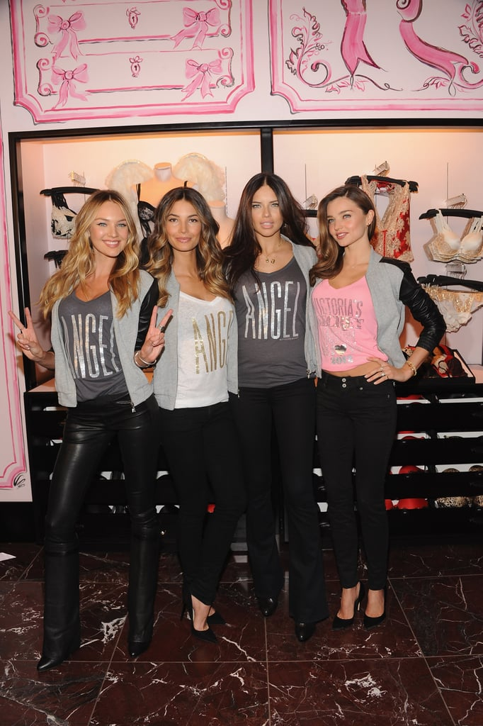 Miranda Kerr, Lily Aldridge, Adriana Lima, and Candice Swanepoel were all in attendance at Victoria's Secret Herald Square in NYC.