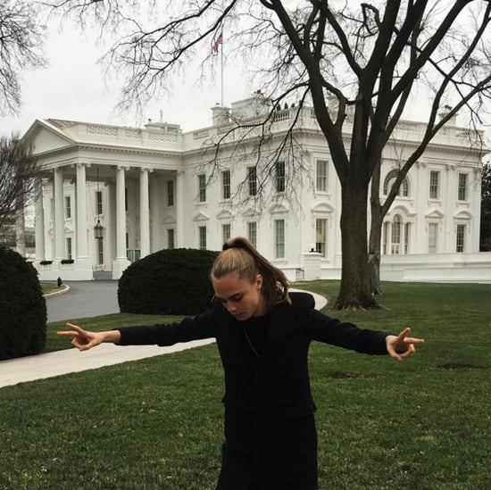 Cara Delevingne Wearing Sneakers at the White House