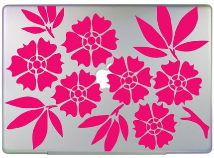 Cherry Blossom Laptop Decals Make Me Happy to Be a Girl