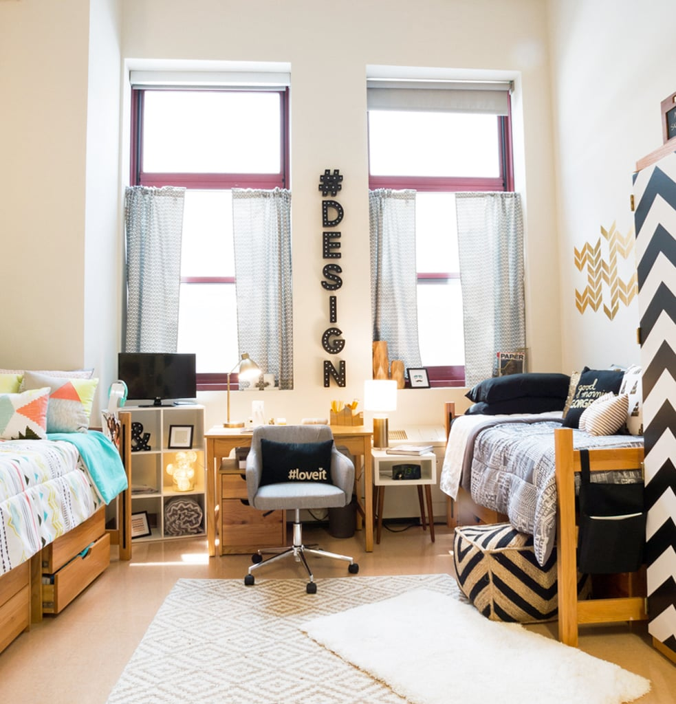 Dorm room design hacks popsugar home for Design your dorm room layout