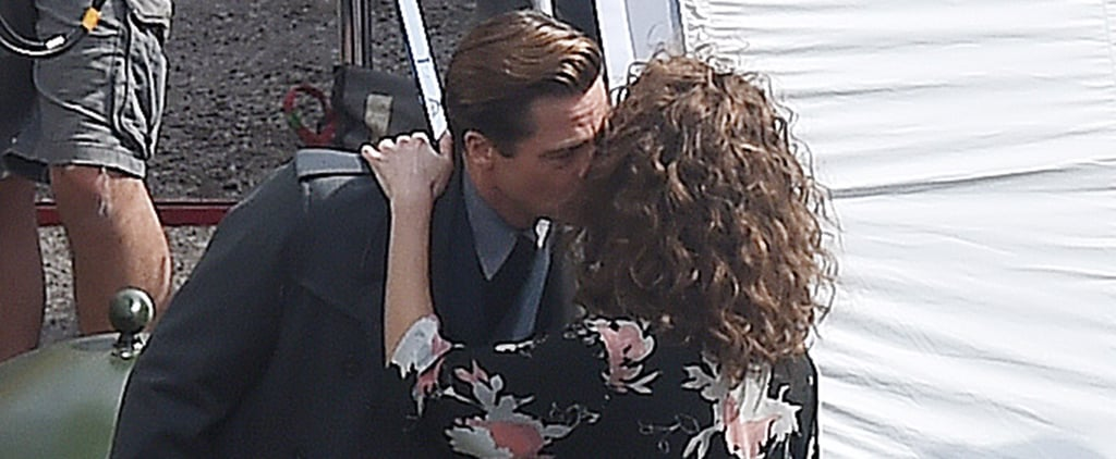Brad Pitt and Lizzy Caplan Share a Smooch on the Set in London