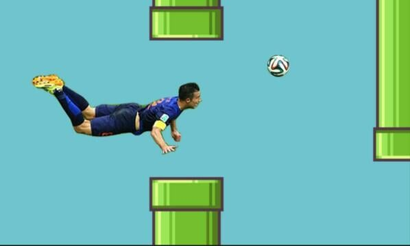 Hey look, Robin van Persie (aka the Flying Dutchman) meets Flappy Bird.  Source: Twitter user doglab