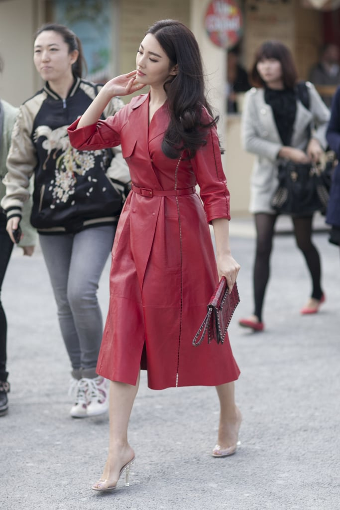 Red leather livened up a classic trench.