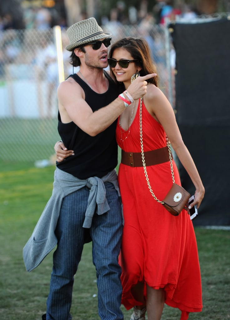 Nina Dobrev showed off a gorgeous red maxi and her crossbody Mulberry bag while hanging with beau Ian Somerhalder.