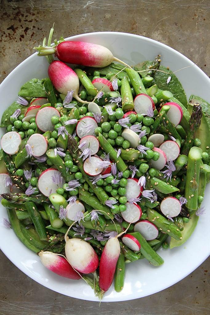 Avocado, Asparagus, Pea, and Radish Sesame Salad