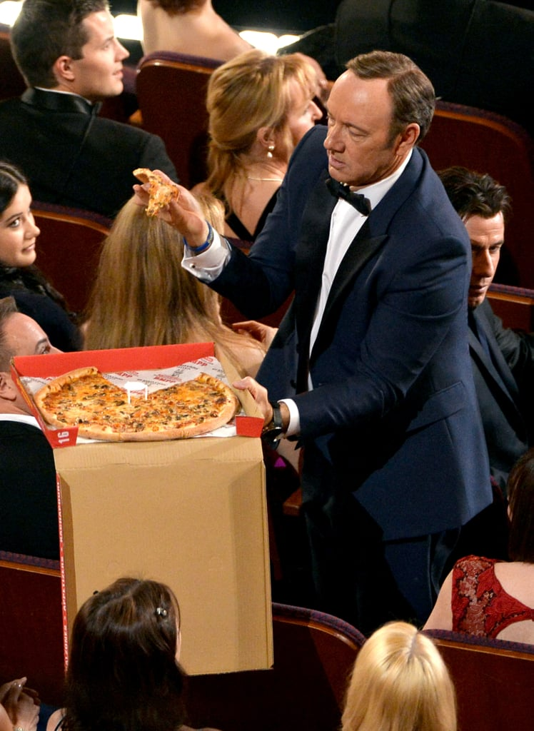 Kevin Spacey got his own box of pizza.
