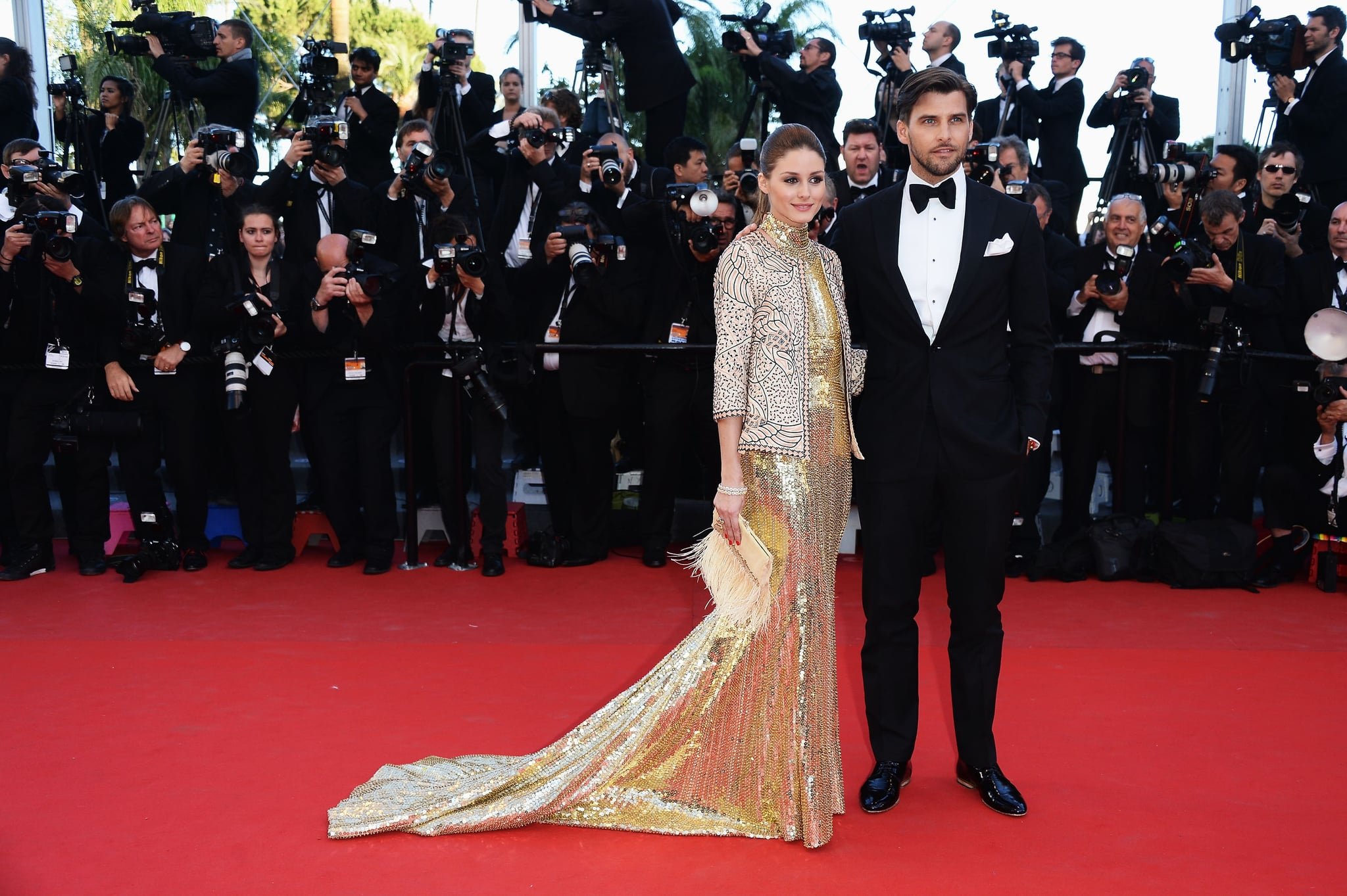 Olivia Palermo and Johannes Huebl posed for a picture on Friday at the premiere of The Immigrant.
