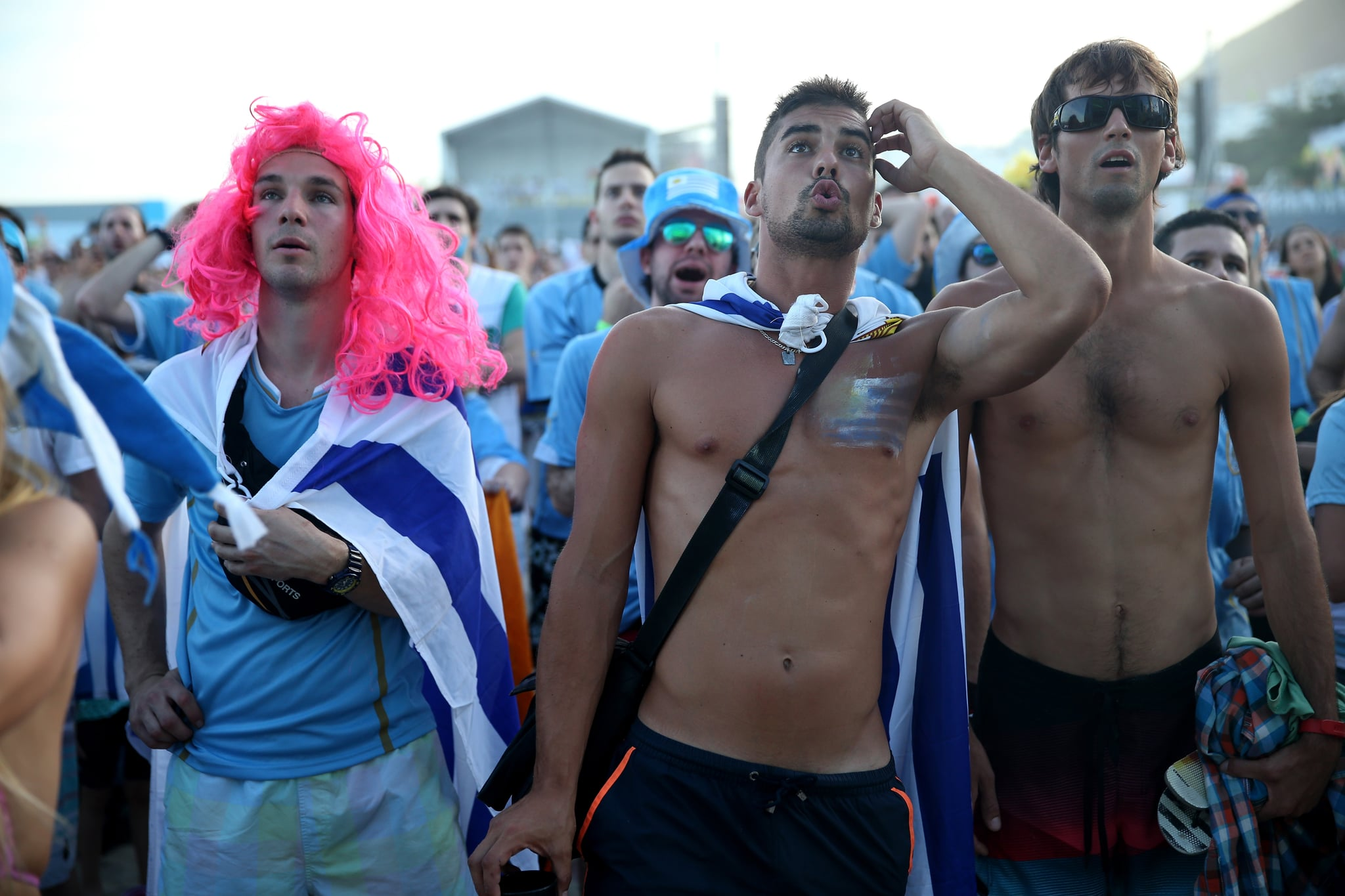 In Rio de Janeiro, Brazil, fans of Uruguay reacted as they watched the game against Costa Rica.