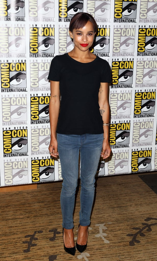 Zoë Kravitz went for a simple look, pairing a black t-shirt with jeans and pumps at a press event for the movie Divergent