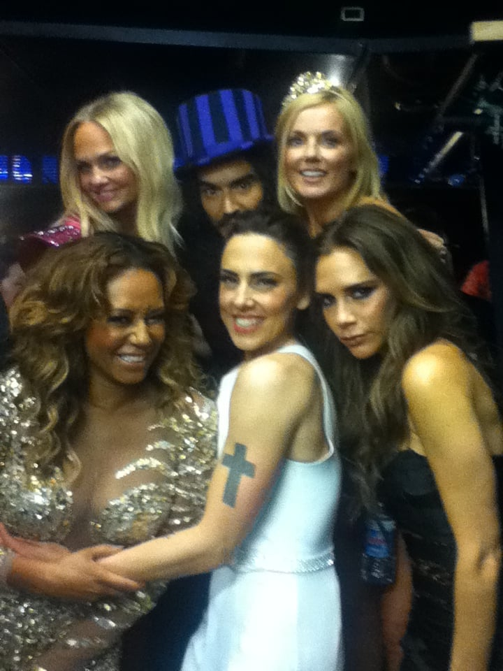 The Spice Girls posed with Russell Brand backstage at the London Olympics closing ceremony. Source: Twitter user OfficialMelB