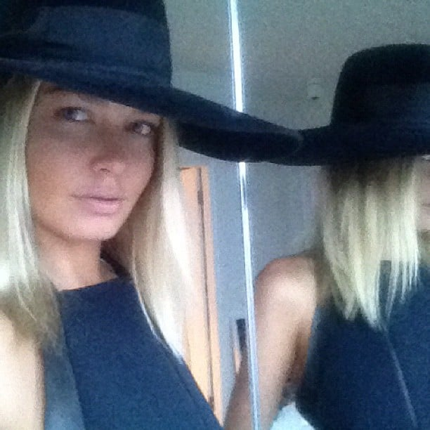 Lara Bingle fell in love with her HatMaker hat from Derby Day. Source: Instagram user mslbingle