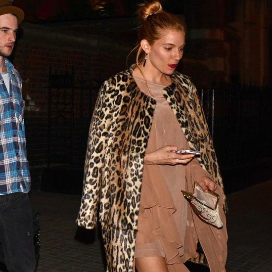 Sienna Miller Leopard Coat   Video