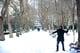 A man in Istanbul, Turkey, threw snowballs.