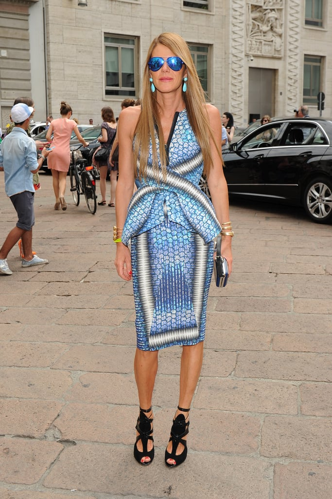Anna Dello Russo outside the Salvatore Ferragamo Men's Spring 2013 show in Milan.