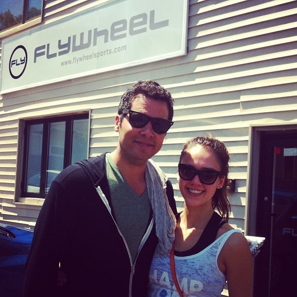 Cash Warren and Jessica Alba snapped a photo before a workout session. Source: Instagram user cash_warren