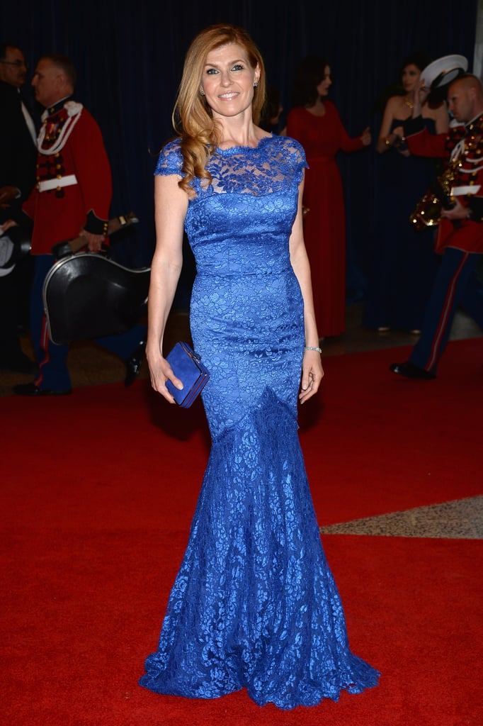 At the White House Correspondents' Dinner, Connie stepped out in a brilliant blue lace Temperley London gown.
