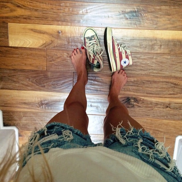Model Marisa Miller showed off her patriotic sneakers. Source: Instagram user marisamiller