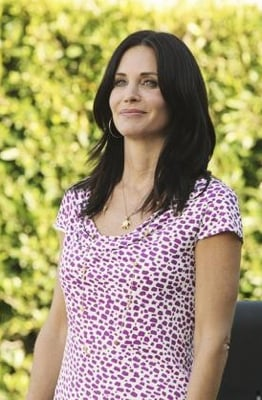 Jules Cobb in Purple and White Print Dress on Cougar Town
