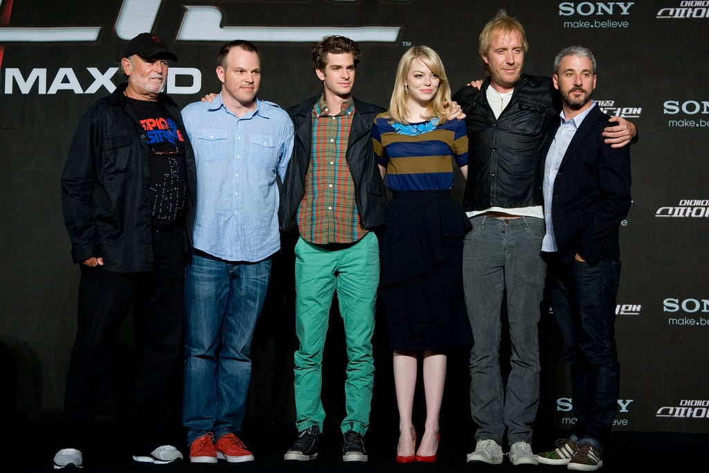 Marc Webb, Andrew Garfield, Emma Stone, Avi Arad, Rhys Ifans, and Matt Tolmach linked up at a press conference for The Amazing Spider-Man in Seoul.