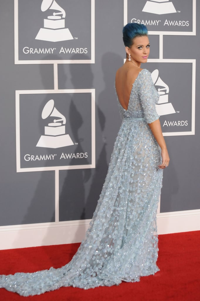 Katy Perry wore a low-backed Elie Saab gown.