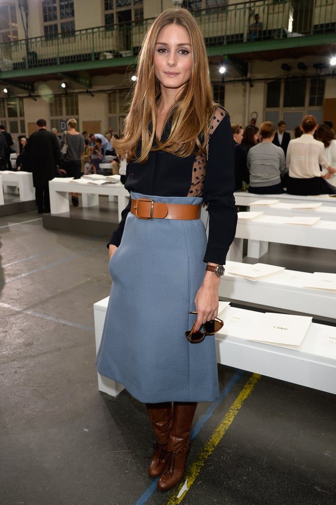 Olivia Palermo was ladylike in a midi skirt and boots at Chloé.