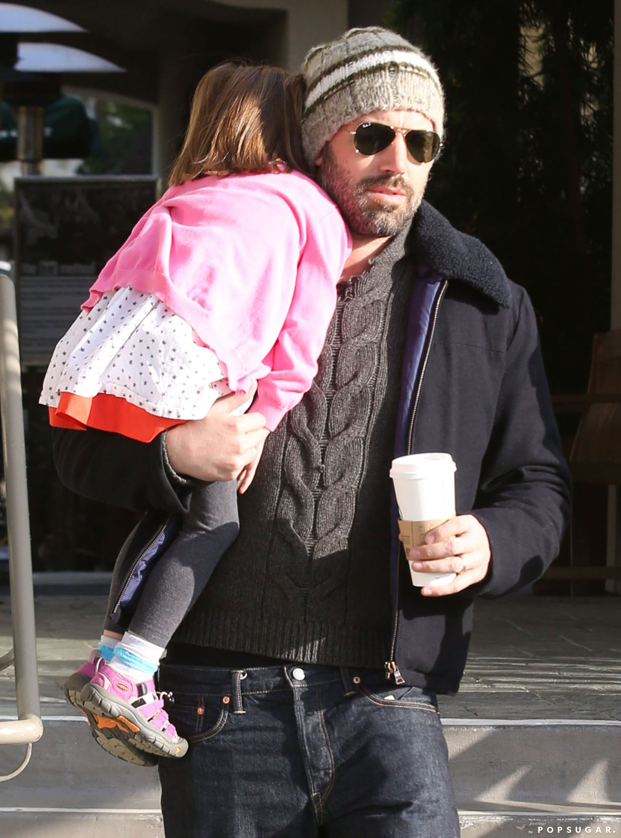 Ben Affleck wore a beanie and shades during his family coffee trip.