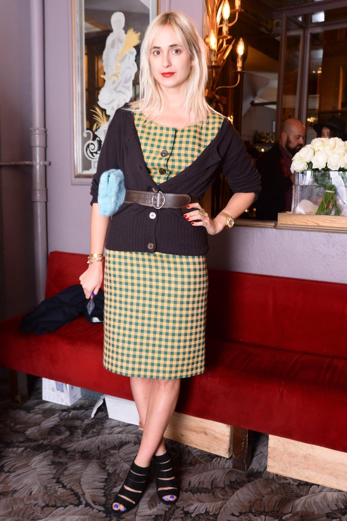 Elisabeth von Thurn und Taxis arrived for the Paris Fashion Week Nordstrom's dinner in a ladylike plaid sheath.