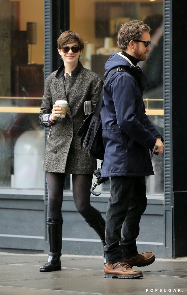 Anne Hathaway and Adam Shulman made a coffee stop in NYC.